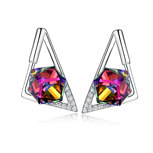Sterling Silver Colorful Rainbow Swarovski Element Crystal Prism Cube Stud Earrings (Triangle) ()