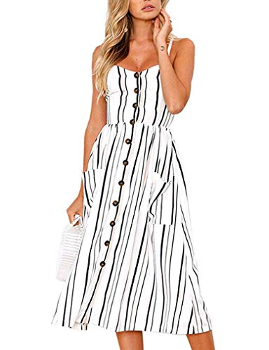 (Halife Womens Dresses Summer Spaghetti Strap Buttons Backless Striped Dress Plus Size White Striped)