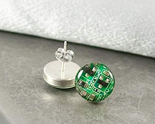 little love Small Green Circuit Board Post Earrings, Wearable Technology, Computer Earrings, Geeky Engineer