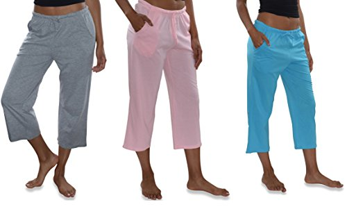 (Sexy Basics Women's 3 Pack Casual Active Relaxed Fit Cotton Knit Capri Cropped Bermuda Short Pants (3 Pack- Pink/TahitiBlue/Heather Grey, X-Large))