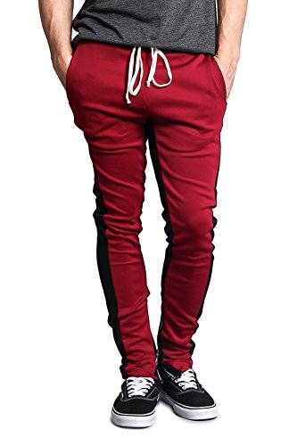G-Style USA Men's Dual Side Stripe Ankle Zip Contrast Waistband Skinny Track Pants - P118 - Burgundy/Black - X-Large - -