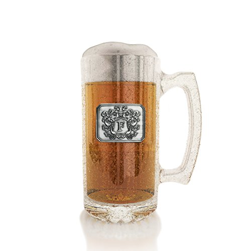 (Fine Occasion Glass Beer Stein Mug Monogram Initial Pewter Engraved Crest with Letter E, 27 oz)