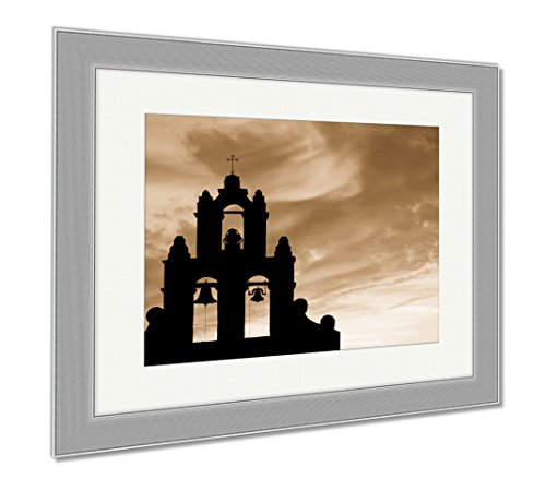 Ashley Framed Prints Mission Bell Tower Against A Beautiful Sky, Wall Art Home Decoration, Sepia, 26x30 (frame size), Silver Frame, AG6518740 by Ashley Framed Prints