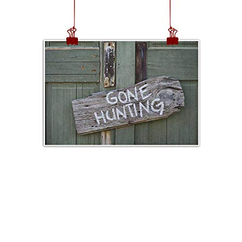 Anyangeight Canvas Wall Art Hunting,Gone Hunting Written on Wooden Board Old Worn Out Cottage Door Seasonal Hobby Fun, Multicolor 32