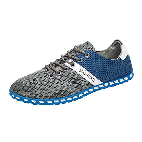 Men's Sneakers Fashion Lightweight Breathable Running Shoes Slip-On Casual Shoes for Walking Flats Shoes Gray ()
