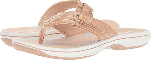 - Clarks Women's Breeze Sea Flip Flop, nude synthetic patent, 6 B(M) US