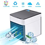 AUSHEN Portable Air Cooler, Mini Air Conditioner Fan Personal Space Cooler, Humidifier, Adjustable 3 Fan Speeds, 7 Color LED Light, Desktop Table Cooling Fan for Home Bedroom Office