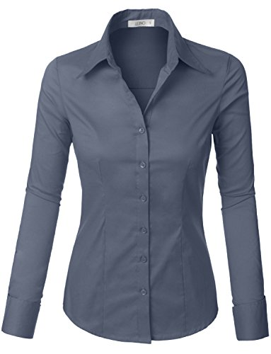 - LE3NO Womens Lightweight Button Down Shirt with Stretch