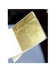 Lotto di 100 foglie d'oro per alimenti, 35 X 35 mm, 100% puro commestibile .. 24 carati.