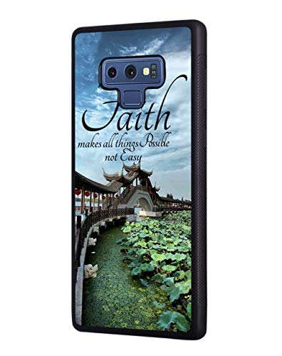 Galaxy Note 9 Case,Lotus Pond View Quote Faith Makes All Things Possible,Not Easy Design Slim Impact Resistant Shock-Absorption TPU Protective Cover for Samsung Galaxy Note 9