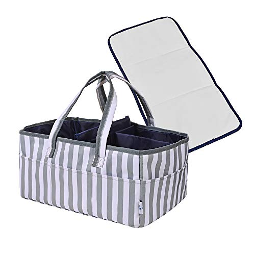 Baby Diaper Caddy Organizer - Portable Large Nursery Diaper Tote Bag | Storage Bin for Changing Table | Newborn Registry Baby Shower Gift Must Haves | Includes Bonus Changing Mat Travel Essential