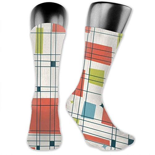 WCHUNMU Abstract Mid Century Modern Grid Athletic Mid-Calf Sock Women's Men's Classics Below Knee Stocking Sports Long High Ankle Compression Socks One Size (Grid Mid Calf Socks)