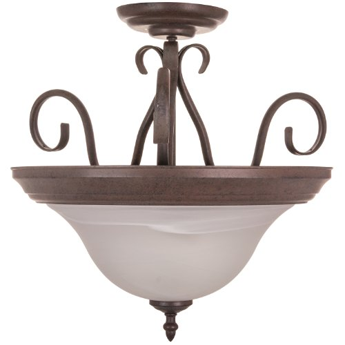 (Sunlite DBC18/AL 18.9-Inch Decorative Ceiling Fixture, Dusted Brown with Alabaster Glass)