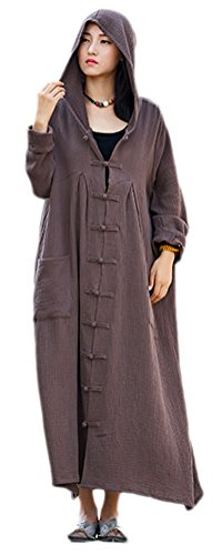 Soojun Women's Long Sleeve Chinese Frog Button Hooded Coat With Pockets Coffee,One Size ()