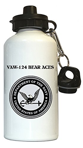 (VAW-124 Bear Aces - US Navy Water Bottle White, 1030)