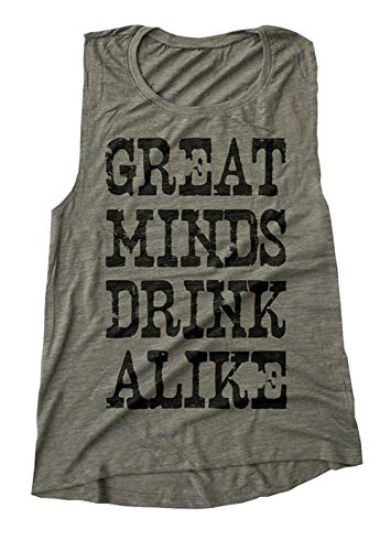 - ALLTB Great Minds Drink Alike Tank Tops Womens Summer O Neck Vintage Letter Printed Cami Shirt Casual Lady Racerback Green