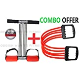Oddish Double Spring Combo Tummy Trimmer Chest Expander for Men and Women (Red & Black)