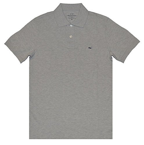Vineyard Vines Mens Slim Fit Pique Short Sleeve Polo Shirt (Gray Heather, Large)