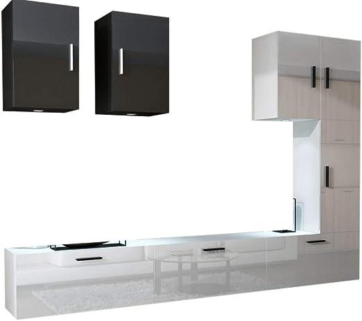 HomeDirectLTD Moderno Conjunto de Muebles de salón Concept 23, Muebles para Sala de Estar, Modernos Muebles modulares con Iluminación LED Opcional (23_HG_BW_3, LED 16 Colores): Amazon.es: Hogar