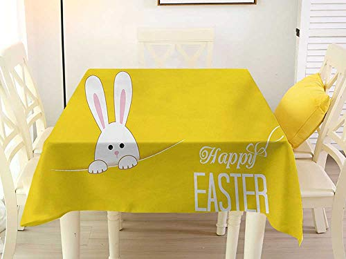 L'sWOW Square Tablecloth Outdoor Umbrella Yellow Easter Bunny Rabbit Animal Cartoon Springtime Cheerful Fun Celebration Art Print Yellow White Western 54 x 54 Inch