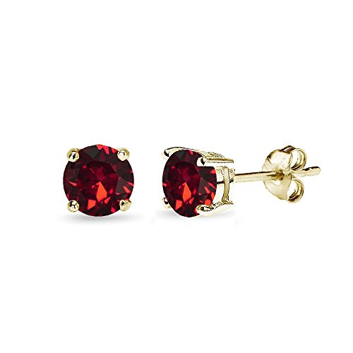 Yellow Gold Flashed Sterling Silver 5mm Round Red Stud Earrings created with Swarovski -