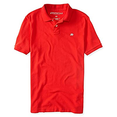 Aeropostale Men's A87 Solid Logo Pique Polo