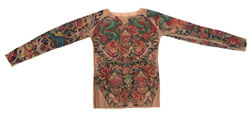 Wild Rose Ladies Sugar Skulls Bright Tattoo Mesh Shirt, Tan, Large