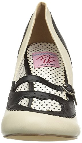 Col Tacco Leather Scarpe Punta Pin crpu black Faux Nero Chiusa Up cream 18 Donna Poppy B Couture Fx0nxY