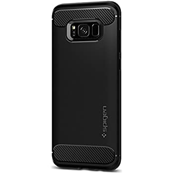 Spigen Rugged Armor Galaxy S8 Plus Case with Resilient Shock Absorption and Carbon Fiber Design for Galaxy S8 Plus (2017) - Black