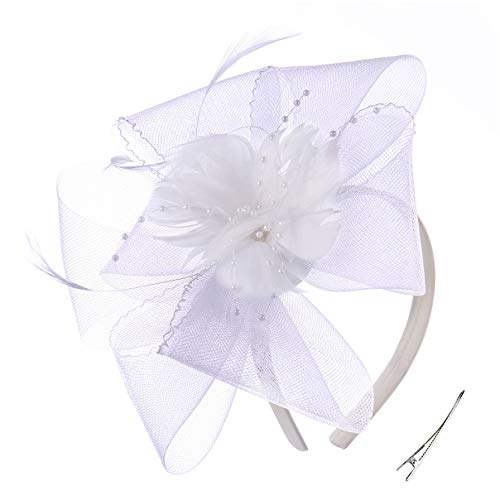 Felizhouse Fascinator Hats Women Ladies Feather Cocktail Party Hats Bridal Headpieces Kentucky Derby Ascot Fascinator Headband (#4 White) ()