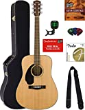 Fender CD-60S Solid Top Dreadnought Acoustic Guitar - Left Handed, Natural Bundle with Hard Case, Tuner, Strap, Strings, Picks, Austin Bazaar Instructional DVD, and Polishing Cloth