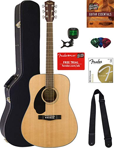 Fender CD-60S Solid Top Dreadnought Acoustic Guitar, Left Handed - Natural Bundle with Hard Case, Tuner, Strap, Strings, Picks, Austin Bazaar Instructional DVD, and Polishing -