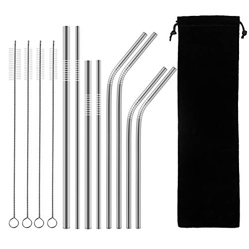 Epartswide Reusable Straws 8 Pcs Full Variety Stainless Steel Straws and 4 Pcs Cleaning Brushes for 30oz 20oz Yeti Tumbler RTIC Tervis Ozark Trail Starbucks Mason Jar FDA Approved and BPA Free by Epartswide (Image #7)