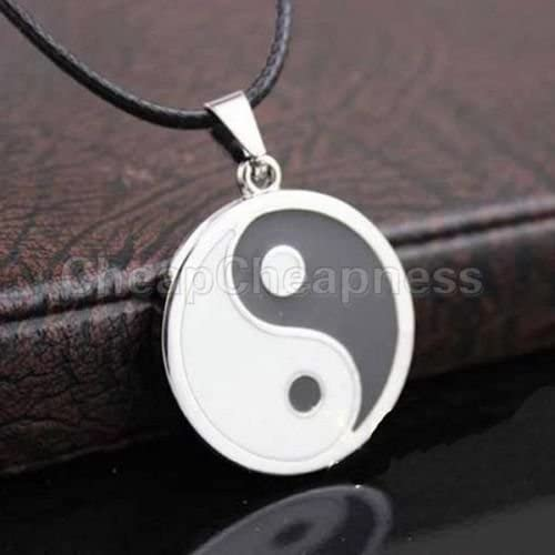 New Ying Yang Pendant Black White Necklace Charm with Black Leather