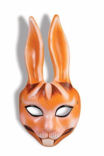 Orange Rabbit Plastic Half Mask Bunny Animal Easter Costume Accessory Unisex New -
