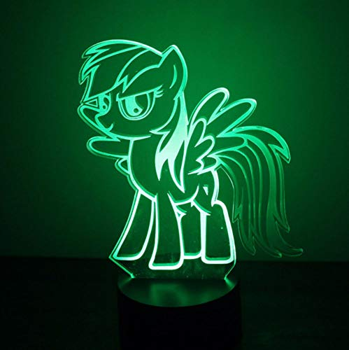 UDIYXC LED Kids Gifts 3D USB Cartoon Lovely Little Pony Modeling Nightlights Kids Bedroom Atmosphere Mood Decor Desk Table Lamp