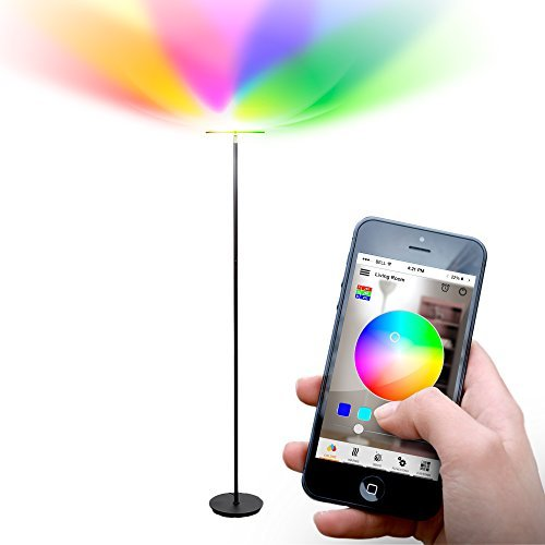 Brightech Kuler Sky Color Changing Torchiere LED Floor Lamp - Dimmable, iOs & Android App Remote Control Light - Lamp for Living Rooms, Game Rooms & Bedrooms - Adjustable Pivoting Head - Black by Brightech
