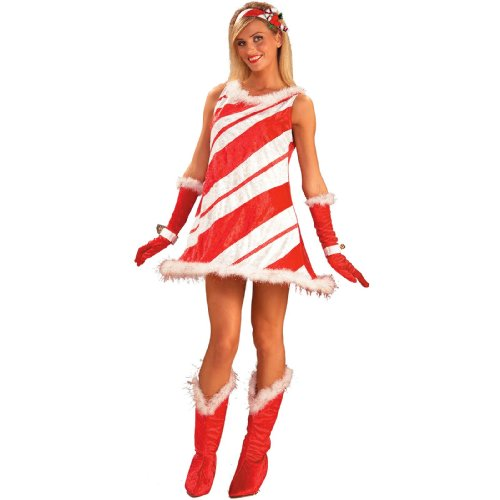 Forum Novelties Women's Miss Candy Cane Costume, Red/White, Standard (Halloween Costumes Candy Cane)
