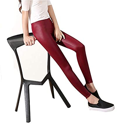 3cbc197076400 Image Unavailable. Image not available for. Color: Lannmart Faux Leather  Leggings Navy Blue ...