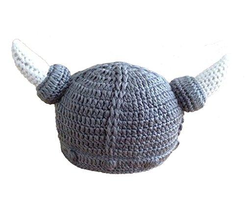 VISKEY Unisex Baby Handmade Knitting Viking Hat Ox Horn Beanie (Viking Outfit)