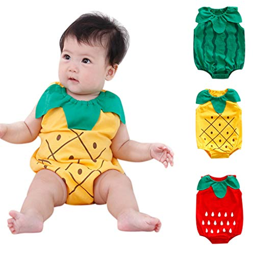Newborn Boys Girls Jumpsuit, Infant Kids Baby Lovely Bodysuit Fruit Strawberry Pineapp Print Romper (0-6 Months, Yellow) by Hopwin Baby Boys Suits (Image #6)