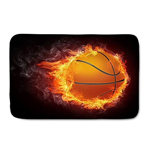 - WHEREISART Customized Sports Ball Doormat, Fire Encircled The Basketball with a String of Flames Rectangle Indoor/Outdoor Doormat Soft Flannel Rug for Front Door Bedroom Welcome