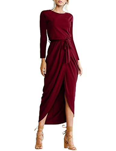 VENAS Womens Front Slit Long Sleeve Tie-Waist Ankle Length Maxi Sweater Irregular Tops Pullover T-Shirt Plain Wrap Tunic Dresses With Belt (S, Red) (Long Sleeve Wrap Front Dress)