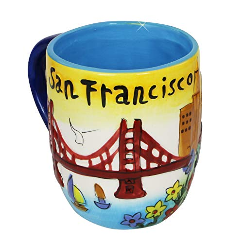 Smith Novelty Company San Francisco Coffee Mug Hand Painted Yellow Puff Round City Coffee Mugs ()