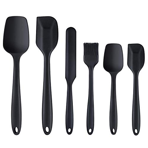 Silicone Spatula,6 piece Non-scratch Heat Resistant Rubber Spatula with Stainless Steel Core,Non Stick and Good Grips Spatulas for Cooking,Baking and - Set Spatula