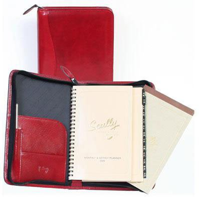 Scully Italian Calfskin Leather Zip Weekly Planner (Red) by SCULLY ITALIA