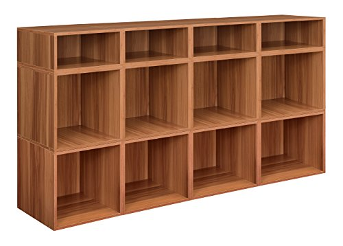 Bookcase Media Cubbies - Niche PC8F4HPKWC 8 Full Cubes/4 Half Cubes Cubo Storage Bin Set, Warm Cherry
