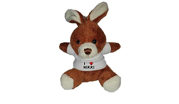 Conejito de peluche (llavero) con Amo Nikki en la camiseta (nombre de pila/apellido/apodo): Amazon.es: Juguetes y juegos