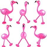 6 Pieces Inflatable Pink Flamingo Inflatable Flamingo Luau Party Accessories for Hawaiian Party Decoration