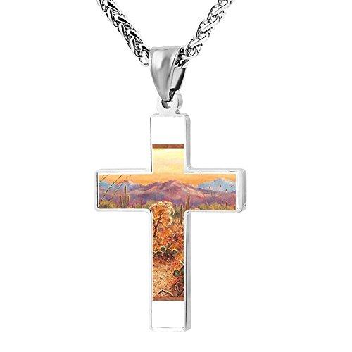 Gjghsj2 Cross Necklace Pendant Religious Jewelry Desert Cactus For Men Wome -